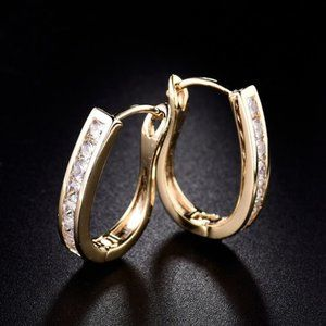 Gold Filled 2 Tone Pave Set Crystals Huggy Hoops
